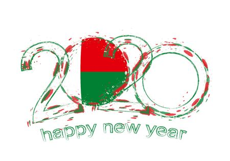 Happy New 2020 Year with flag of Madagascar. Holiday grunge vector illustration.
