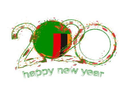 Happy New 2020 Year with flag of Zambia. Holiday grunge vector illustration.  イラスト・ベクター素材
