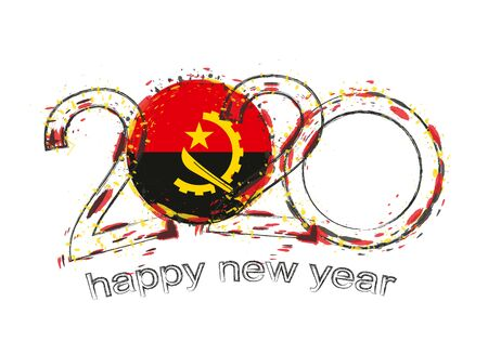 Happy New 2020 Year with flag of Angola. Holiday grunge vector illustration.  イラスト・ベクター素材
