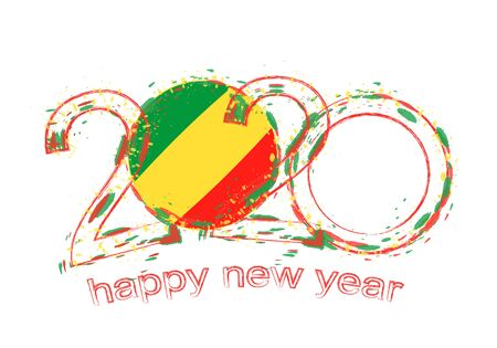 Happy New 2020 Year with flag of Congo. Holiday grunge vector illustration. 写真素材 - 129675374