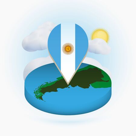 Isometric round map of Argentina and point marker with flag of Argentina. Cloud and sun on background. Isometric vector illustration.