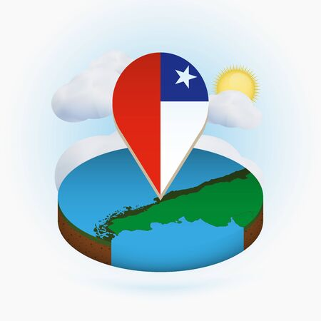 Isometric round map of Chile and point marker with flag of Chile. Cloud and sun on background. Isometric vector illustration.