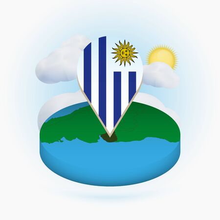 Isometric round map of Uruguay and point marker with flag of Uruguay. Cloud and sun on background. Isometric vector illustration. Ilustração