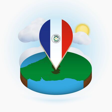 Isometric round map of Paraguay and point marker with flag of Paraguay. Cloud and sun on background. Isometric vector illustration.  イラスト・ベクター素材