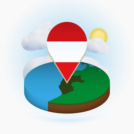 Isometric round map of Peru and point marker with flag of Peru. Cloud and sun on background. Isometric vector illustration. 写真素材 - 129675389