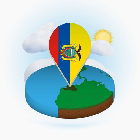 Isometric round map of Ecuador and point marker with flag of Ecuador. Cloud and sun on background. Isometric vector illustration.