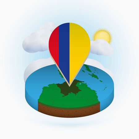 Isometric round map of Colombia and point marker with flag of Colombia. Cloud and sun on background. Isometric vector illustration.