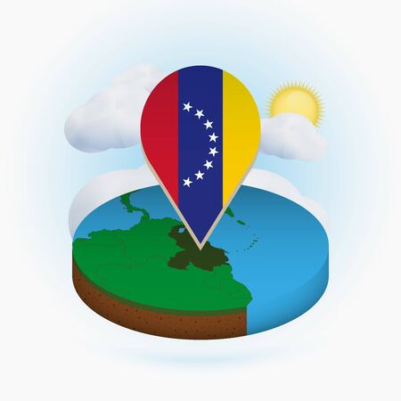 Isometric round map of Venezuela and point marker with flag of Venezuela. Cloud and sun on background. Isometric vector illustration. 写真素材 - 129675392
