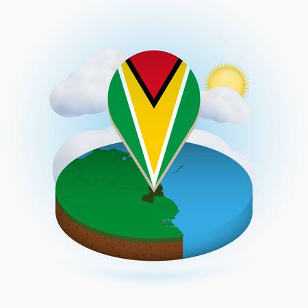 Isometric round map of Guyana and point marker with flag of Guyana. Cloud and sun on background. Isometric vector illustration. 写真素材 - 129675393
