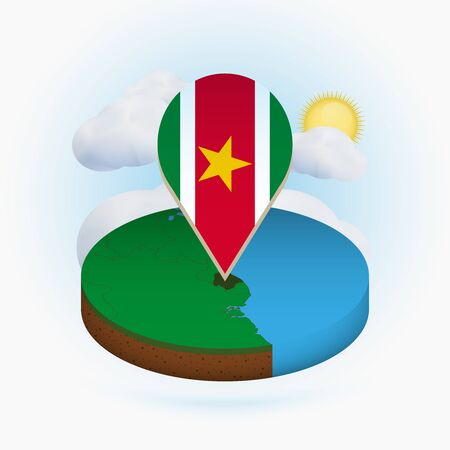 Isometric round map of Suriname and point marker with flag of Suriname. Cloud and sun on background. Isometric vector illustration. 写真素材 - 129675394