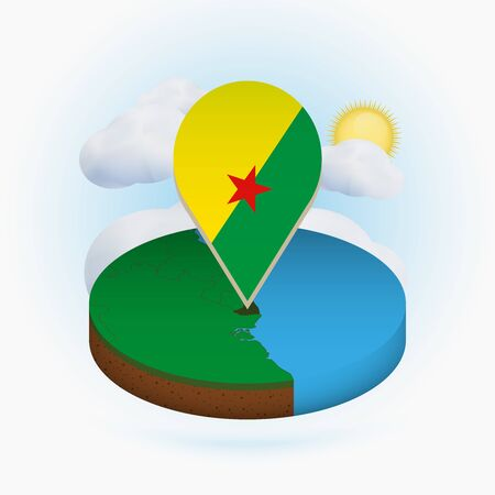 Isometric round map of French Guiana and point marker with flag of French Guiana. Cloud and sun on background. Isometric vector illustration.