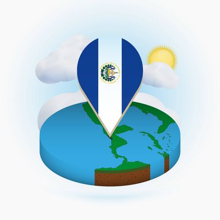 Isometric round map of El Salvador and point marker with flag of El Salvador. Cloud and sun on background. Isometric vector illustration.