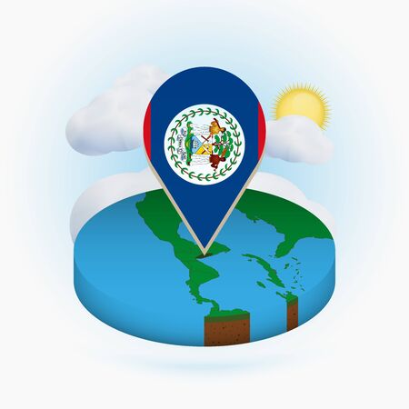 Isometric round map of Belize and point marker with flag of Belize. Cloud and sun on background. Isometric vector illustration.  イラスト・ベクター素材