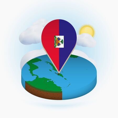 Isometric round map of Haiti and point marker with flag of Haiti. Cloud and sun on background. Isometric vector illustration.  イラスト・ベクター素材