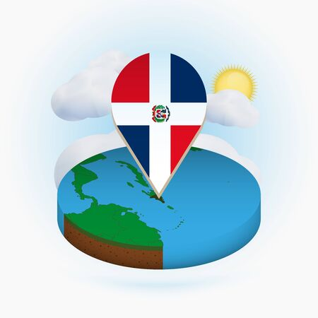 Isometric round map of Dominican Republic and point marker with flag of Dominican Republic. Cloud and sun on background. Isometric vector illustration. 写真素材 - 129675410
