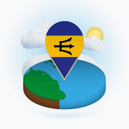 Isometric round map of Barbados and point marker with flag of Barbados. Cloud and sun on background. Isometric vector illustration. 写真素材 - 129675415