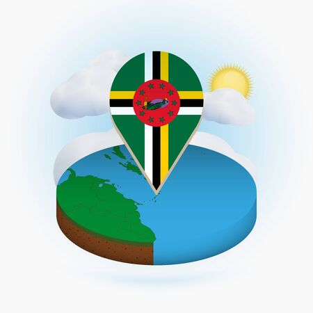 Isometric round map of Dominica and point marker with flag of Dominica. Cloud and sun on background. Isometric vector illustration.