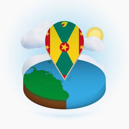 Isometric round map of Grenada and point marker with flag of Grenada. Cloud and sun on background. Isometric vector illustration.