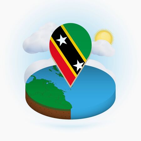 Isometric round map of Saint Kitts and Nevis and point marker with flag of Saint Kitts and Nevis. Cloud and sun on background. Isometric vector illustration.