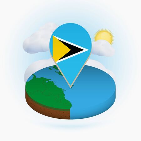 Isometric round map of Saint Lucia and point marker with flag of Saint Lucia. Cloud and sun on background. Isometric vector illustration.
