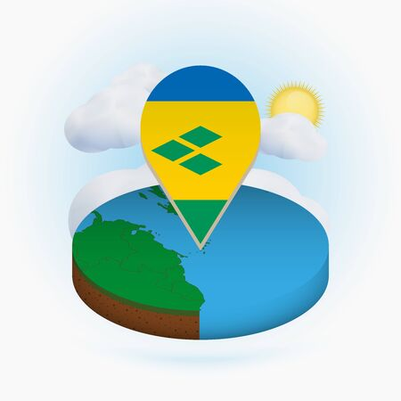 Isometric round map of Saint Vincent and the Grenadines and point marker with flag of Saint Vincent and the Grenadines. Cloud and sun on background. Isometric vector illustration.  イラスト・ベクター素材
