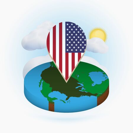 Isometric round map of USA and point marker with flag of United States. Cloud and sun on background. Isometric vector illustration.