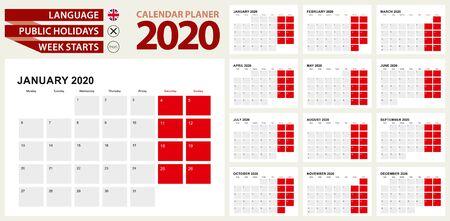 2020 Calendar Planner Design. Week starts from Monday. 写真素材 - 129675425