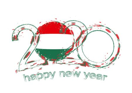Happy New 2020 Year with flag of Hungary. Holiday grunge vector illustration.
