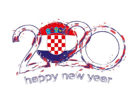 Happy New 2020 Year with flag of Croatia. Holiday grunge vector illustration.