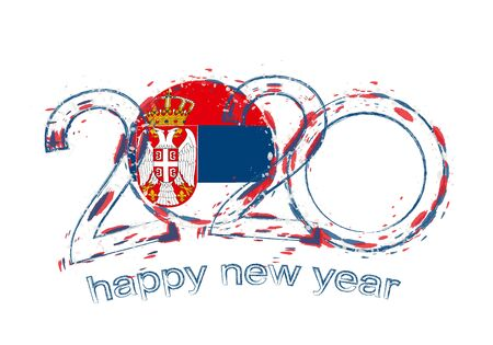 Happy New 2020 Year with flag of Serbia. Holiday grunge vector illustration.