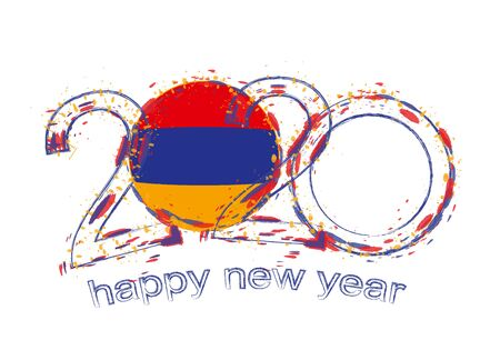 Happy New 2020 Year with flag of Armenia. Holiday grunge vector illustration. Ilustração
