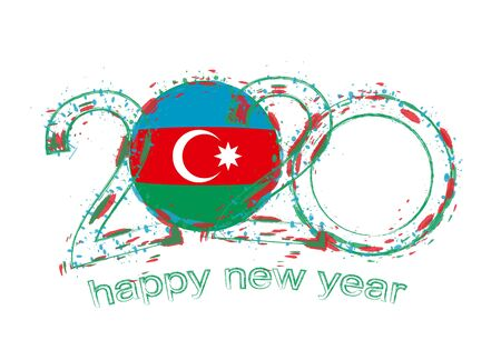 Happy New 2020 Year with flag of Azerbaijan. Holiday grunge vector illustration.