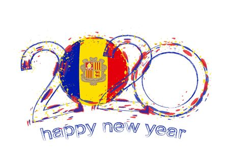 Happy New 2020 Year with flag of Andorra. Holiday grunge vector illustration.