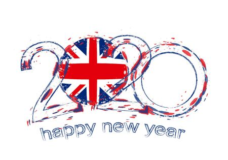 Happy New 2020 Year with flag of United Kingdom. Holiday grunge vector illustration. Ilustração