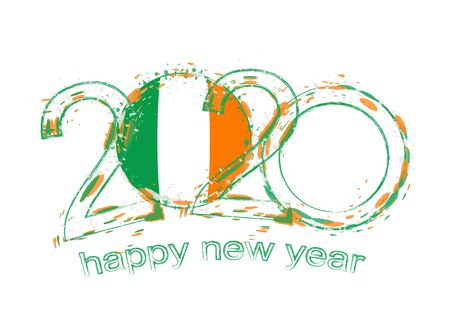 Happy New 2020 Year with flag of Ireland. Holiday grunge vector illustration.