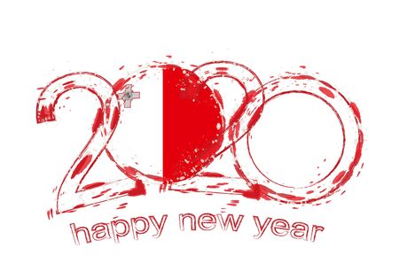 Happy New 2020 Year with flag of Malta. Holiday grunge vector illustration. Ilustração