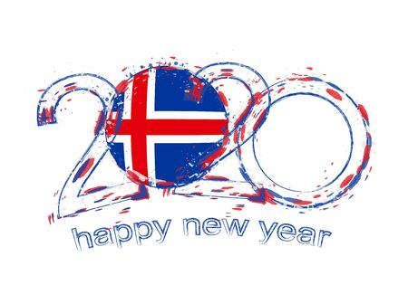 Happy New 2020 Year with flag of Iceland. Holiday grunge vector illustration.