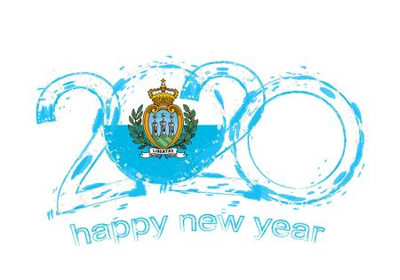 Happy New 2020 Year with flag of San Marino. Holiday grunge vector illustration.