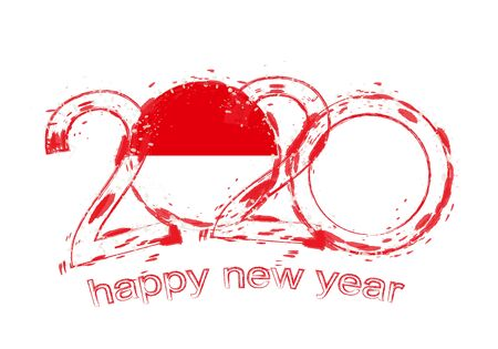 Happy New 2020 Year with flag of Monaco. Holiday grunge vector illustration.