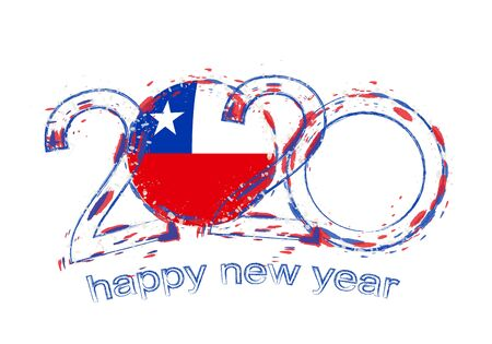 Happy New 2020 Year with flag of Chile. Holiday grunge vector illustration.