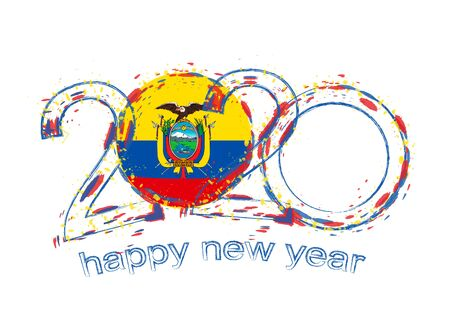 Happy New 2020 Year with flag of Ecuador. Holiday grunge vector illustration. Ilustração