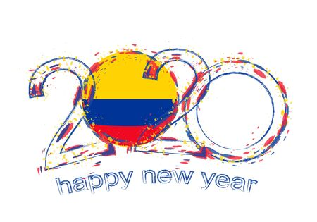 Happy New 2020 Year with flag of Colombia. Holiday grunge vector illustration.
