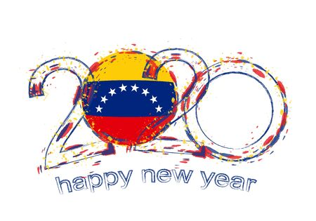 Happy New 2020 Year with flag of Venezuela. Holiday grunge vector illustration.