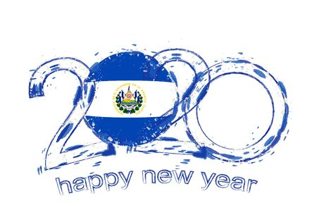 Happy New 2020 Year with flag of El Salvador. Holiday grunge vector illustration.
