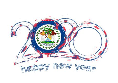 Happy New 2020 Year with flag of Belize. Holiday grunge vector illustration.