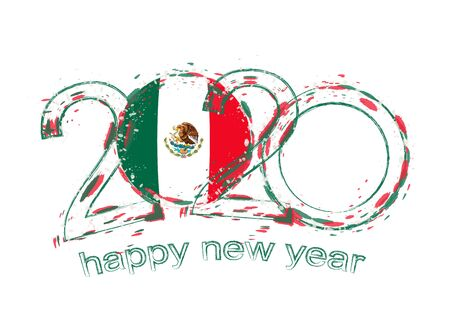 Happy New 2020 Year with flag of Mexico. Holiday grunge vector illustration. Ilustração