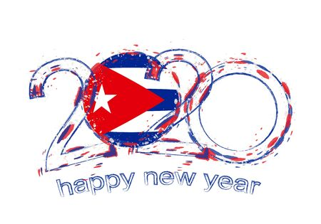 Happy New 2020 Year with flag of Cuba. Holiday grunge vector illustration. 矢量图像