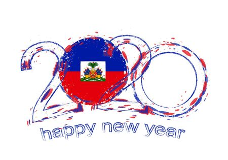 Happy New 2020 Year with flag of Haiti. Holiday grunge vector illustration. Ilustração