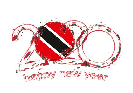 Happy New 2020 Year with flag of Trinidad and Tobago. Holiday grunge vector illustration. Ilustração
