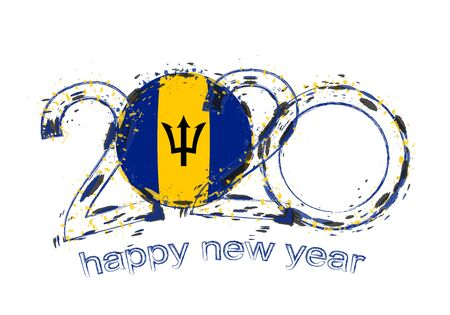 Happy New 2020 Year with flag of Barbados. Holiday grunge vector illustration.